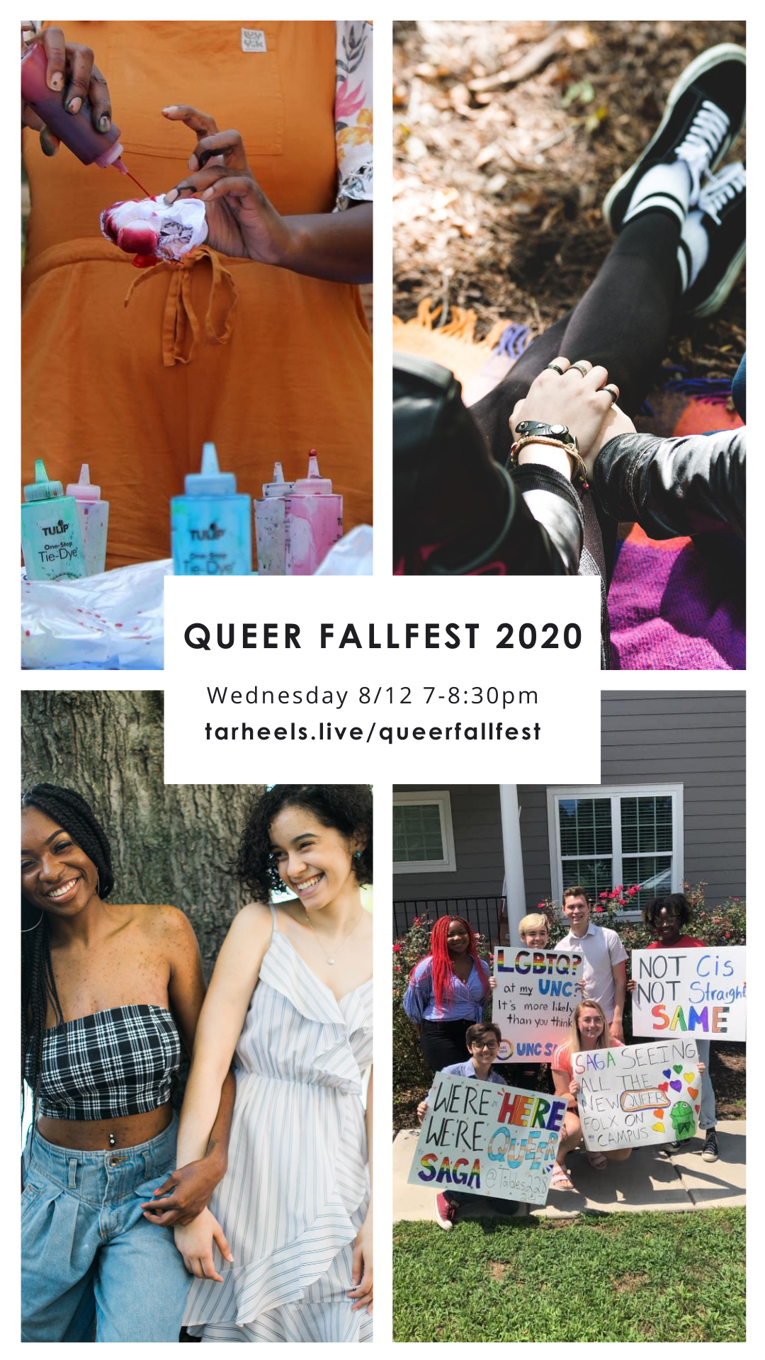 Four images of LGBTQIA+ life on and off campus in a grid with information on Queer FallFest in the center.