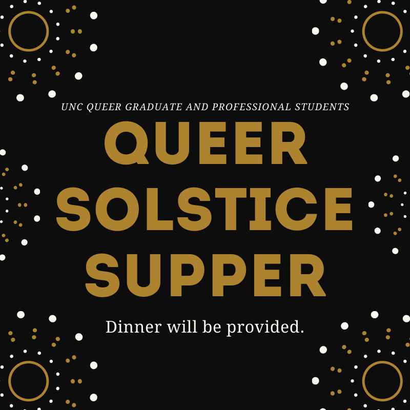 Queer Solstice Supper in gold letters on black, gold, and white bacground