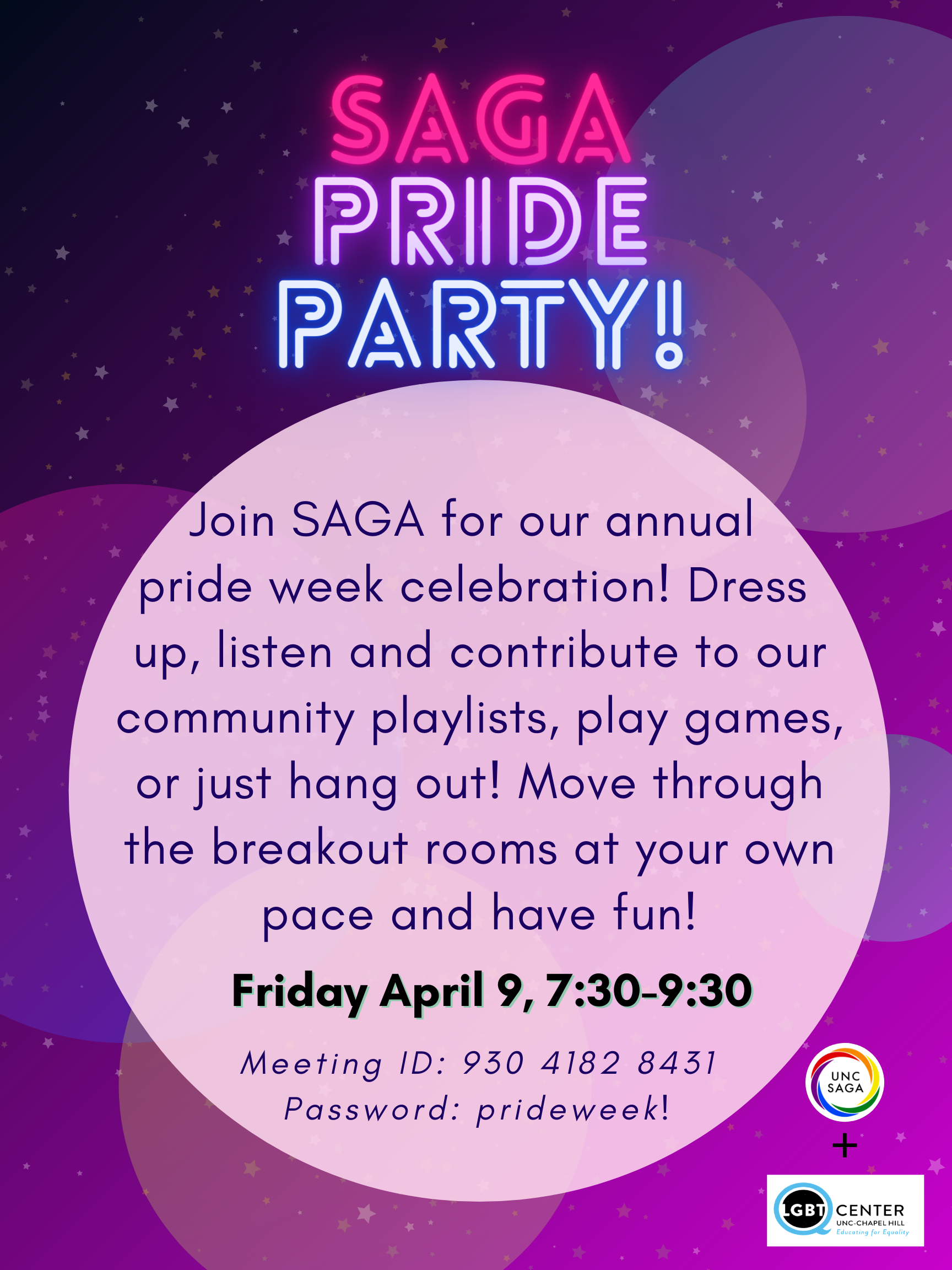 """""""Poetry, Prose, and Pride"""" poster for Pride Week open mic event hosted by Honors Carolina Pride and the UNC Creative Writing Program"""