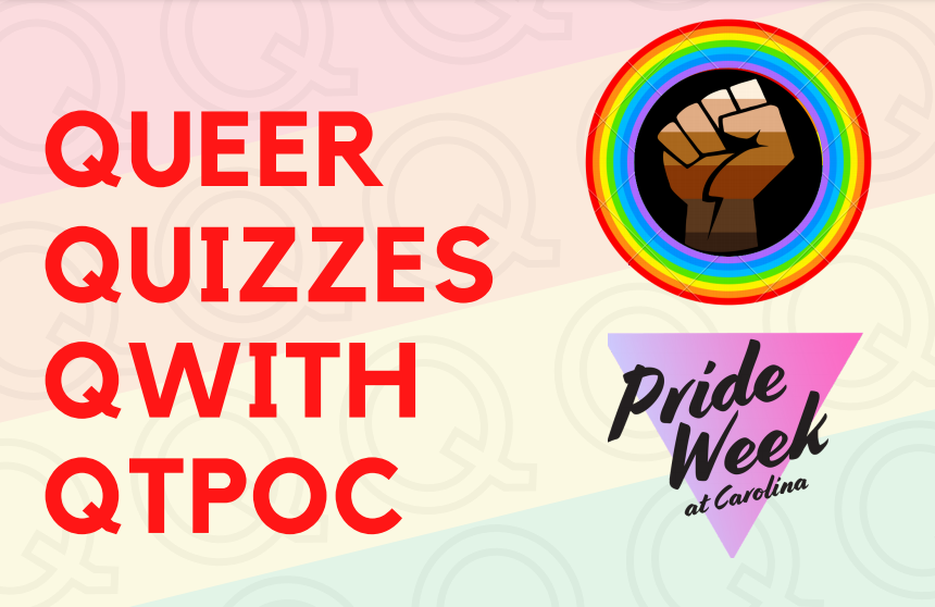 Queer Quizzes Qwith QTPOC in orange text over rainbow background with BIPOC Power fist surrounded by rainbow border and Pride Week at Carolina logo.