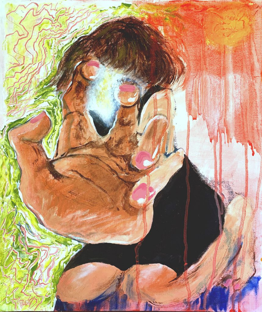 A light-skinned hand wearing pink nail polish, with its palm in shadow, reaches out in the direction of the viewer, covering approximately a third of the canvas. The figure it's connected to, behind the hand, has a mop of dark brown hair and wears a knee-length black dress. The figure is kneeling. To the left, the background is white and light green with repeating lines that follow the form of the figure and reveal a dark pink underlay. The background to the right of the figure is light red, painted wet with drips that extend to the bottom of the canvas, some running over a portion of the figure. The shadow of the figure, close to the bottom of the canvas, is a deep ultramarine blue. A glowing yellow and pale blue light source comes from the facial area of the figure, partially covered by the large hand.